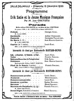 Henri Sauguet - Programme of 12 December 1920 in Paris