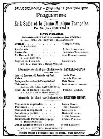 Henri Sauguet - Programme of 12 December 1920 in Paris