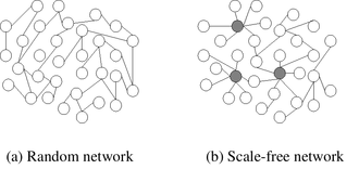 Hub (network science) - Random network (a) and scale-free network (b). In the scale-free network, the larger hubs are highlighted.