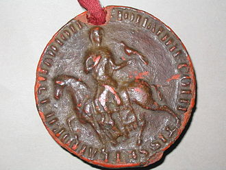Joan, Countess of Flanders - Joan's personal seal. She chose a round seal – as men had – and is represented on horseback, a hawk in hand, in an aristocratic pose.