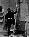 Sculptor Veikko Leppänen in studio, early 1960s.png