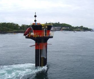 Tidal power - The world's first commercial-scale and grid-connected tidal stream generator – SeaGen – in Strangford Lough. The strong wake shows the power in the tidal current.