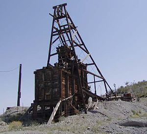 Searchlight, Nevada - Old mine headframe just south of Searchlight