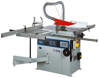 Table saw - A table saw, equipped for cutting large pieces of sheet stock in the direction of the wood's grain. Also known as ripping.