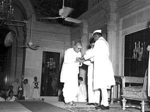 Semmangudi Srinivasa Iyer - Iyer receiving Sangeet Natak Academy award in 1953