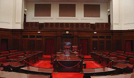 The Senate chamber at Old Parliament House, Canberra, where the Parliament met between 1927 and 1988. Senate, Old Parliament House, Canberra.JPG