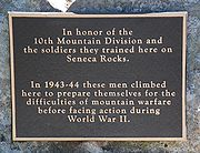 Seneca Rocks -10th Mountain Division marker