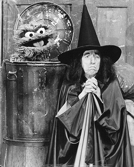 Hamilton with Oscar the Grouch on episode #0847 of Sesame Street, 1976 Sesame Street Margaret Hamilton Oscar The Grouch 1976.jpg