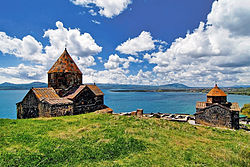 Lake Sevan and the 9th century monastery of Sevanavank