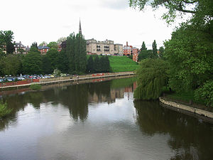 English Bridge - A view from the bridge looking downstream. The Abbey Gardens are on the right.
