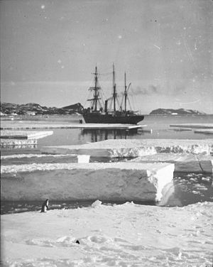 The Nimrod anchoring at Cape Royds. Photograph...