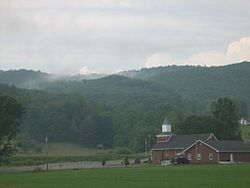 A church sits among the mountains of Shady Valley.