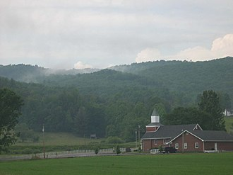 Shady Valley, Tennessee - A church sits among the mountains of Shady Valley.