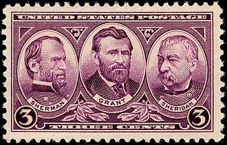 Generals Sherman, Grant and Sheridan, Issue of 1937 Sherman Grant Sheridan 1937 Issue-3c.jpg