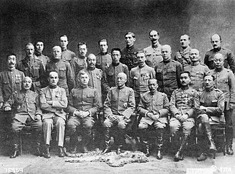 Siberian Intervention - Allied commanders of the Siberian Intervention.  Front row : William S. Graves (3rd), Otani Kikuzo (4th) and Yui Mitsue (5th).