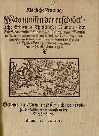 Siege of Bihać (1592) - A 1592 publication in Vienna about the battle