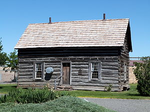 National Register of Historic Places listings in Gilliam County, Oregon - Image: Silas A Rice Log House Condon Oregon