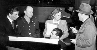 Frank Sinatra - Sinatra (left) on the Armed Forces Radio in 1944