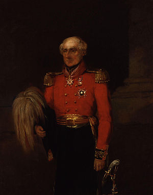Sir Colin Campbell by William Salter. Campbell is in full dress uniform with a sword by his side and a governor's hat in his right hand.