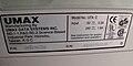 Skener UMAX PowerLook II, výrobní štítek krytu.JPG