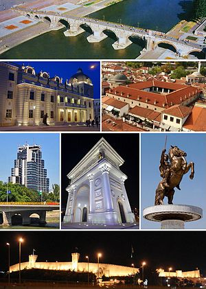 From top to bottom, left to right: Stone Bridge Macedonian National Theatre • Kapan Han in the Old Bazaar  MRT Center • Porta Macedonia • Warrior on a Horse statue Skopje Fortress