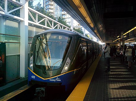 Public transportation is key to sustainability in the Pacific Northwest region. Vancouver's SkyTrain rapid transit system achieves daily ridership of over 500,000 passengers per day on weekdays and the overall transit ridership levels in the Metro Vancouver area rank 3rd in North America per capita. SkyTrain Mark III arriving at Stadium Chinatown Station.jpg