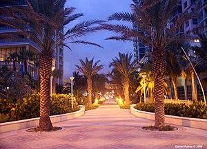 South Beach ocean boardwalk, Miami Beach, FL. ...