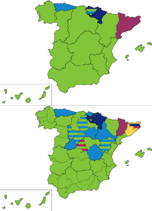 Spanish general election, 1910 - Most voted party by regions and provinces.