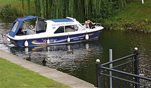 Spalding Water Taxi. On the River Welland at Coronation Channel, on way to Springfields Shopping Centre. - Flickr - mick - Lumix(1).jpg