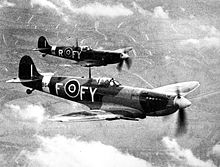 L'aereo da caccia britannico Spitfire.