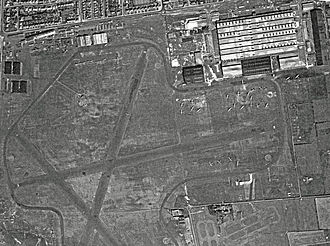 Blackpool Airport - RAF Squires Gate in summer 1945. The Vickers factory is top right with 23 Wellington bombers scattered below. Avro Ansons of the No. 3 School of General Reconnaissance can be seen at top and lower right