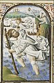 St. Christopher carries the Christ-child, a hermit guiding him with a lamp - Book of hours Simon de Varie - KB 74 G37 - 074v min.jpg