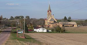 St. Helena, Nebraska - St. Helena, seen from the south; in the center is Immaculate Conception Church