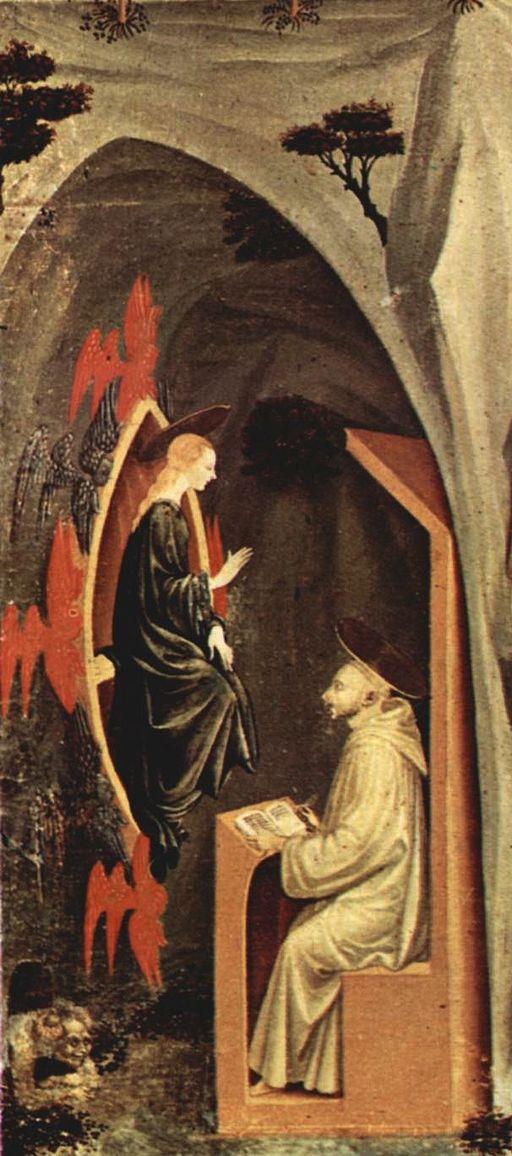 Paolo Ucello, Tebaide (particolare, San Bernardino), 1460–1465 circa, tempera su tavola, 80x109 cm, Firenze, Galleria dell'Accademia, Firenze