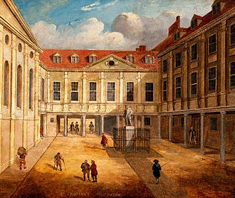 King's College London GKT School of Medical Education - A renaissance oil painting of St Thomas' Hospital, where the St Thomas's Hospital Medical School was founded