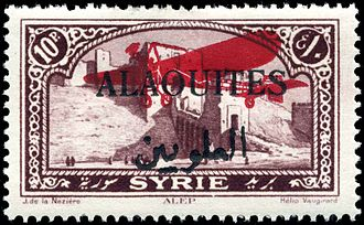 "Alawite State - A double overprint: ""Alaouites"" over an aeroplane (indicating airmail) on  10-piastre Syrian stamp"