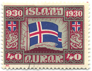 Postage stamps and postal history of Iceland - 40-aurar stamp of 1930