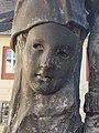 Statue of Márton Lendvay, mask detail. - Várnegyed, 2016 Budapest.jpg