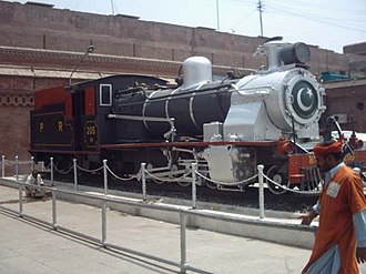 History of rail transport in Pakistan - Image: Steam engine on display at lahore railway station
