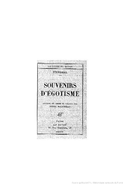 File:Stendhal - Souvenirs d'égotisme, 1927, éd. Martineau.djvu