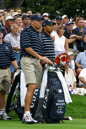 Tiger Woods with his caddy Steve Williams duri...