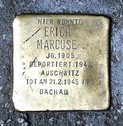 Photo of Erich Marcuse brass plaque