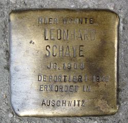 Photo of Leonhard Schaye brass plaque