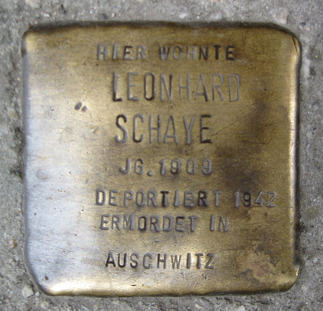 Photo of Leonhard Schaye brass plaque
