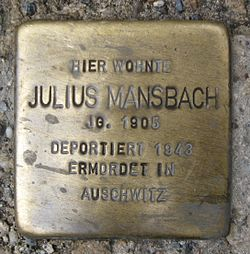 Photo of Julius Mansbach brass plaque
