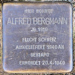 Photo of Alfred Bergmann brass plaque