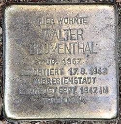 Photo of Walter Blumenthal brass plaque