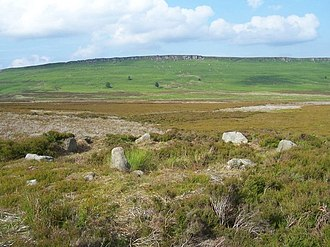 Hathersage - Bronze Age stone circle on Bamford Moor above Hathersage looking towards Stanage Edge where Mesolithic microliths were found
