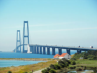 Great Belt Fixed Link - The East Bridge as seen from the Sjælland side.