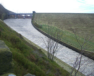 Strines Reservoir - The overflow spillway in spate